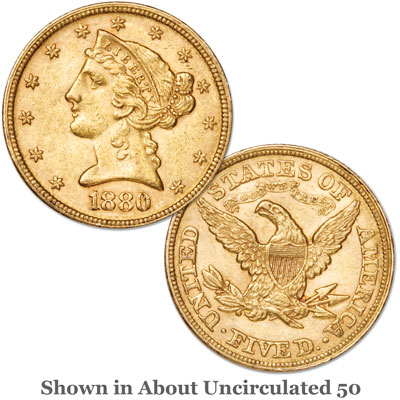 Image for 1880 Liberty Head $5 Gold from Littleton Coin Company