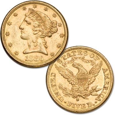 Image for 1886-S Liberty Head $5 Gold Piece from Littleton Coin Company