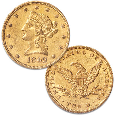 Image for 1849 $10 Liberty Head Gold Eagle, No Motto from Littleton Coin Company