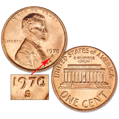 Image for 1970-S Small Date Lincoln Cent, Uncirculated, MS60 from Littleton Coin Company