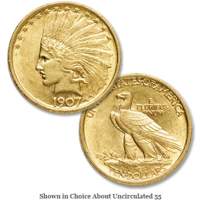 Image for 1907 Indian Head $10 Gold Eagle, No Period from Littleton Coin Company