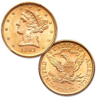 Image for 1893 Liberty Head $5 Gold Half Eagle from Littleton Coin Company