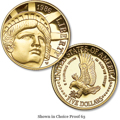 Image for 1986-W Statue of Liberty Gold $5 from Littleton Coin Company