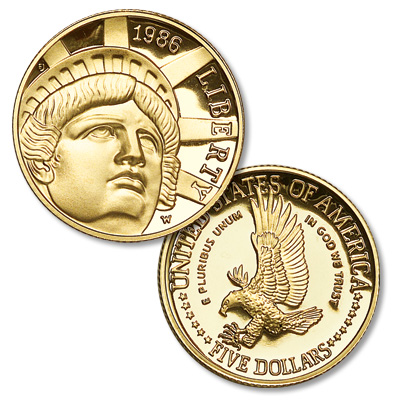Image for 1986-W Statue of Liberty Gold $5, Choice Proof 63 from Littleton Coin Company