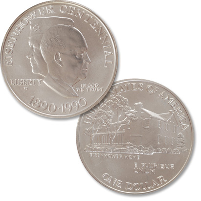 Image for 1990-W Eisenhower Centennial Silver Dollar from Littleton Coin Company