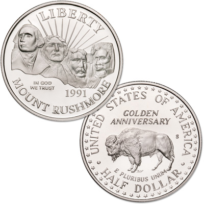 Image for 1991-S Mount Rushmore Golden Anniversary Half Dollar from Littleton Coin Company