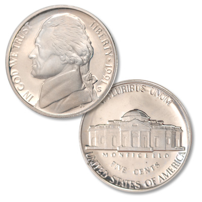 Image for 1991-S Jefferson Nickel Proof from Littleton Coin Company