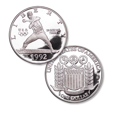 Image for 1992-S XXV Olympiad Silver Dollar Baseball Commemorative from Littleton Coin Company