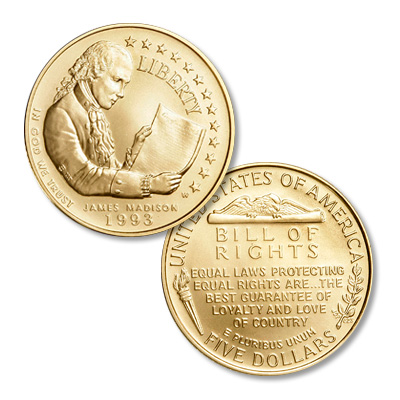 Image for 1993-W Bill of Rights Gold $5 from Littleton Coin Company