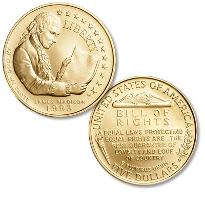 Image for 1993-W Bill of Rights Gold $5, Choice Proof 63 from Littleton Coin Company