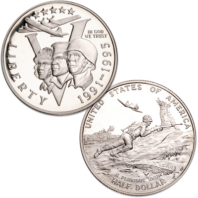Image for 1993-P Clad WWII 50th Anniversary Commemorative Half Dollar from Littleton Coin Company