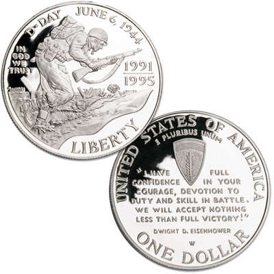 Image for 1993-W Silver WWII 50th Anniversary Commemorative Dollar, Choice Proof, PR63 from Littleton Coin Company