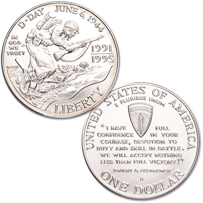 Image for 1993-D (1991-1995) 50th Anniversary of World War II Silver Dollar from Littleton Coin Company
