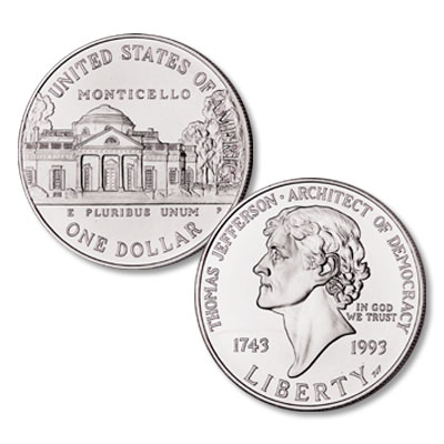 Image for 1993 (1994-P) Thomas Jefferson Silver Dollar from Littleton Coin Company
