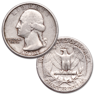 Image for 1934 Washington Silver Quarter, Medium Motto from Littleton Coin Company