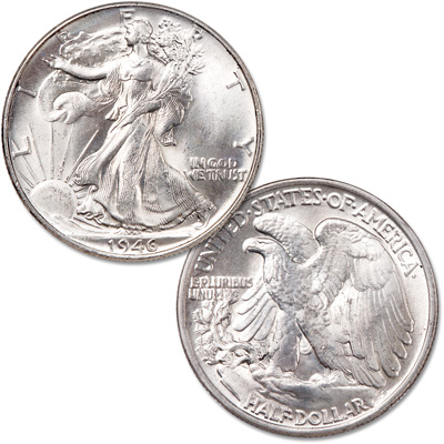 Image for 1946 Liberty Walking Half Dollar, Doubled Die Reverse from Littleton Coin Company