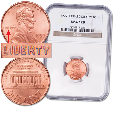 Image for 1995 Lincoln Head Cent, Doubled Die Obverse Red from Littleton Coin Company