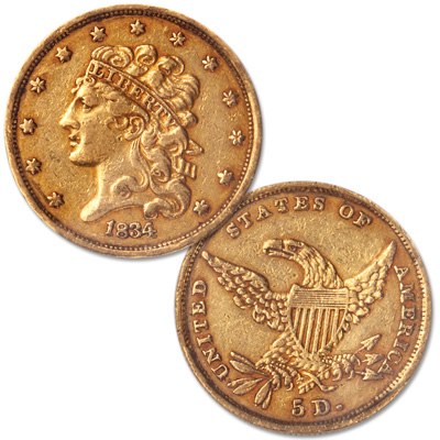Image for 1834 Classic Head $5 Gold from Littleton Coin Company