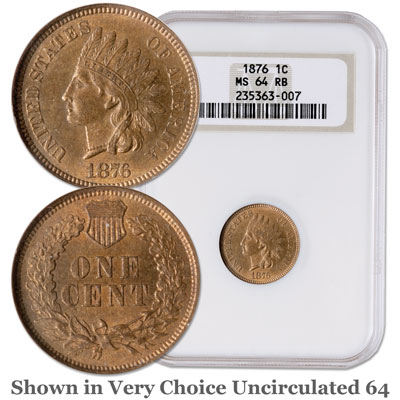 Image for 1876 Indian Head Cent, Variety 3, Bronze, Red Brown from Littleton Coin Company
