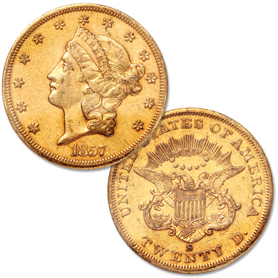 Image for 1857-S Gold $20 Liberty Head from Littleton Coin Company