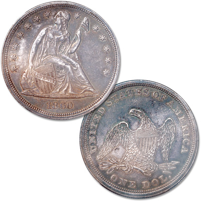 Image for 1860 Liberty Seated Silver Dollar, No Motto from Littleton Coin Company
