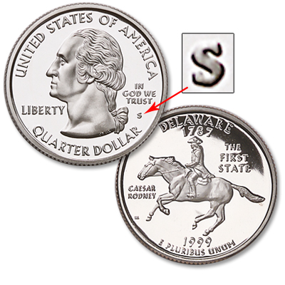Image for 1999-S 90% Silver Delaware Statehood Quarter from Littleton Coin Company