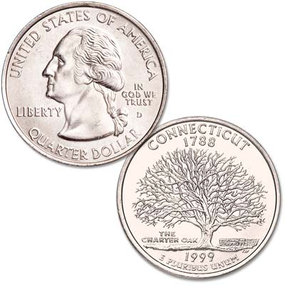 Image for 1999-D Connecticut Statehood Quarter, Uncirculated, MS60 from Littleton Coin Company