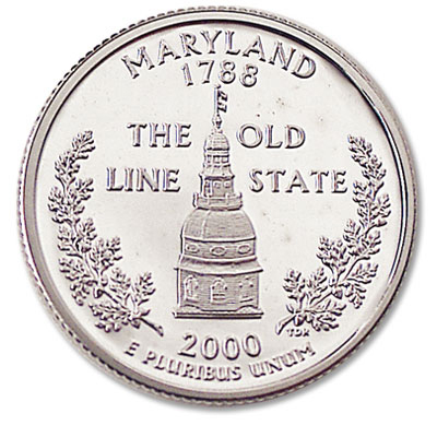 Image for 2000-S 90% Silver Maryland Statehood Quarter, Choice Proof, PR63 from Littleton Coin Company