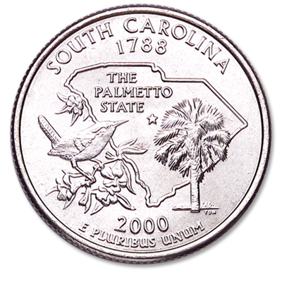 Image for 2000-P South Carolina Statehood Quarter, Uncirculated, MS60 from Littleton Coin Company