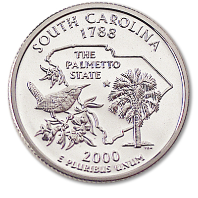 Image for 2000-S 90% Silver South Carolina Statehood Quarter from Littleton Coin Company