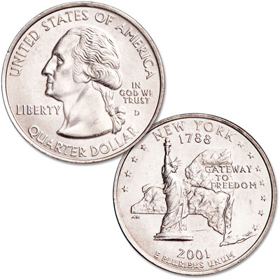 Image for 2001-D New York Statehood Quarter, Uncirculated, MS60 from Littleton Coin Company