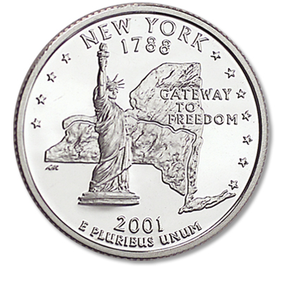 Image for 2001-S New York Statehood Quarter from Littleton Coin Company