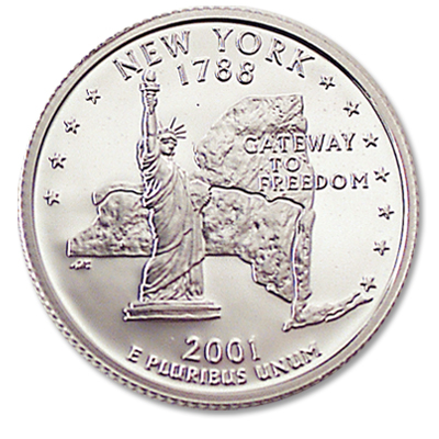 Image for 2001-S 90% Silver New York Statehood Quarter, Choice Proof, PR63 from Littleton Coin Company