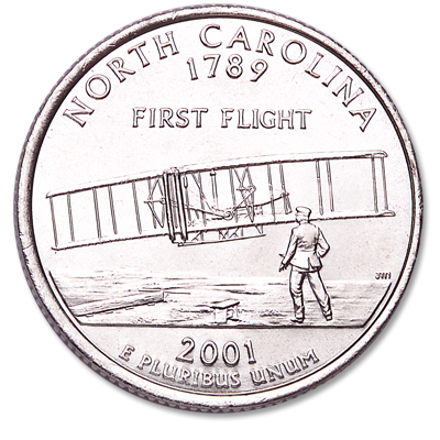 Image for 2001-D North Carolina Statehood Quarter, Uncirculated, MS60 from Littleton Coin Company