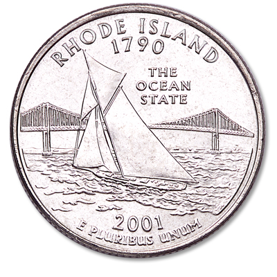 Image for 2001-P Rhode Island Statehood Quarter, Uncirculated, MS60 from Littleton Coin Company