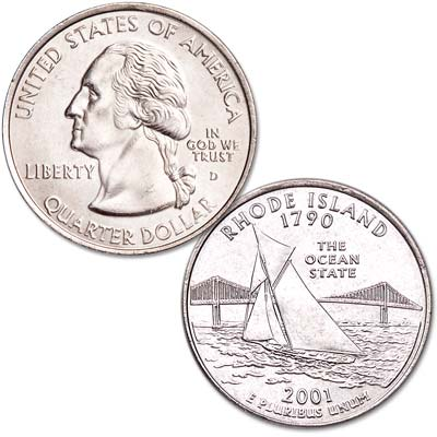 Image for 2001-D Rhode Island Statehood Quarter, Uncirculated, MS60 from Littleton Coin Company