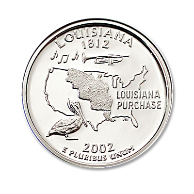 Image for 2002-S 90% Silver Louisiana Statehood Quarter from Littleton Coin Company