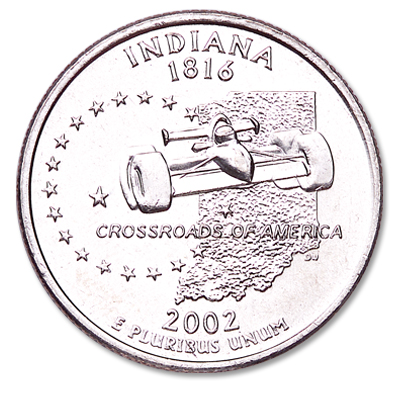 Image for 2002-P Indiana Statehood Quarter, Uncirculated, MS60 from Littleton Coin Company