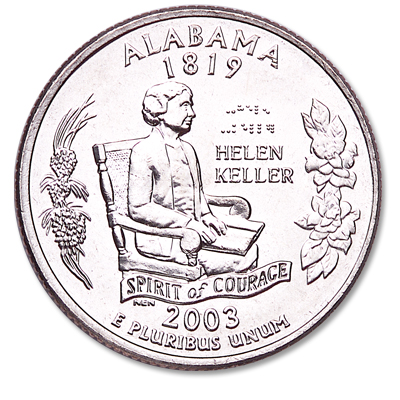 Image for 2003-P Alabama Statehood Quarter, Uncirculated, MS60 from Littleton Coin Company