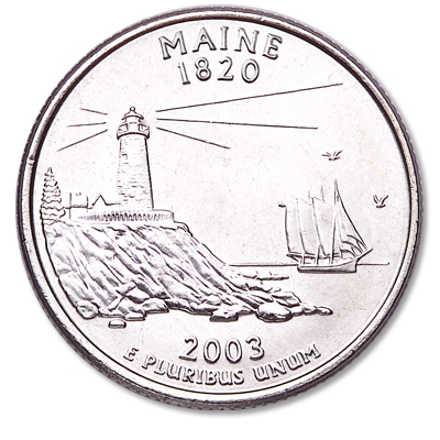 Image for 2003-D Maine Statehood Quarter, Uncirculated, MS60 from Littleton Coin Company