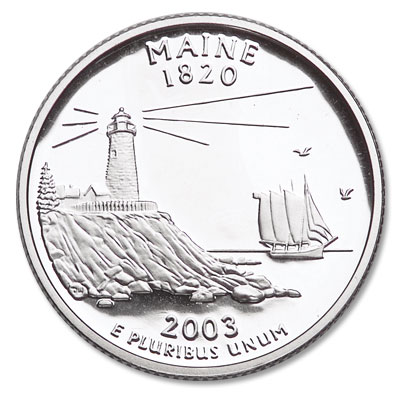 Image for 2003-S 90% Silver Maine Statehood Quarter, Choice Proof, PR63 from Littleton Coin Company