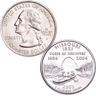 Image for 2003-D Missouri Statehood Quarter, Uncirculated, MS60 from Littleton Coin Company