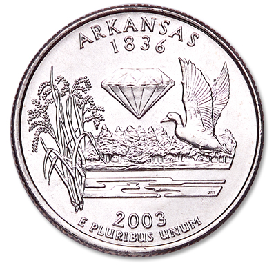 Image for 2003-D Arkansas Statehood Quarter, Uncirculated, MS60 from Littleton Coin Company
