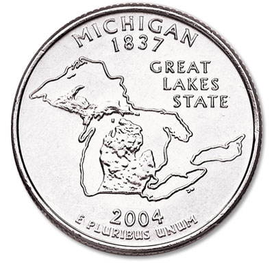 Image for 2004-D Michigan Statehood Quarter, Uncirculated, MS60 from Littleton Coin Company