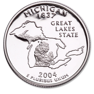 Image for 2004-S Michigan Statehood Quarter from Littleton Coin Company