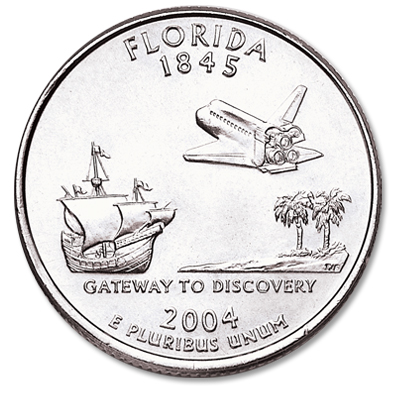 Image for 2004-P Florida Statehood Quarter, Uncirculated, MS60 from Littleton Coin Company