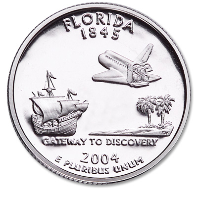 Image for 2004-S 90% Silver Florida Statehood Quarter from Littleton Coin Company
