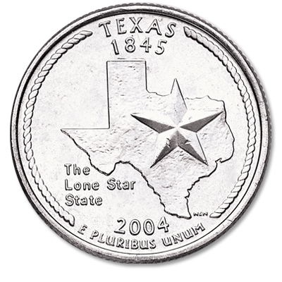 Image for 2004-D Texas Statehood Quarter, Uncirculated, MS60 from Littleton Coin Company