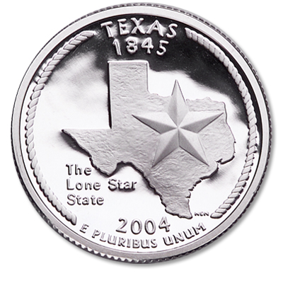 Image for 2004-S 90% Silver Texas Statehood Quarter from Littleton Coin Company