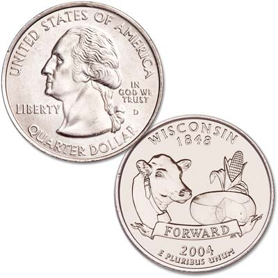 Image for 2004-D Wisconsin Statehood Quarter, Uncirculated, MS60 from Littleton Coin Company